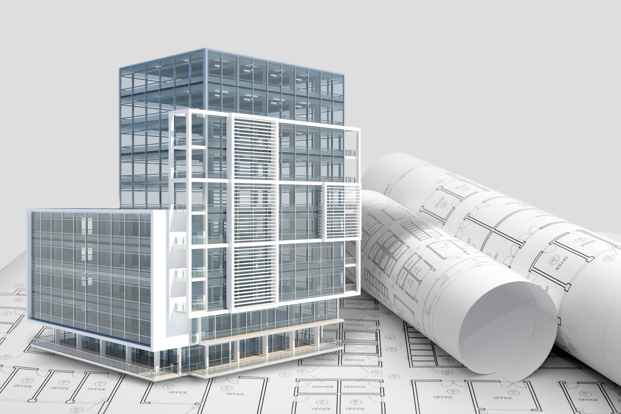 Construction architecture blueprint with office building exterior and 3D model